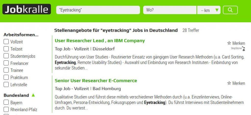 Jobkralle Suche eye-tracking