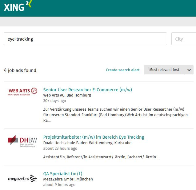 XINg Jobsuche Eye-tracking