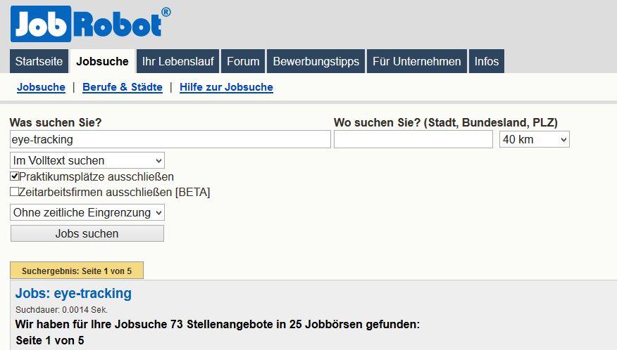 Jobrobot Suche Eye-tracking