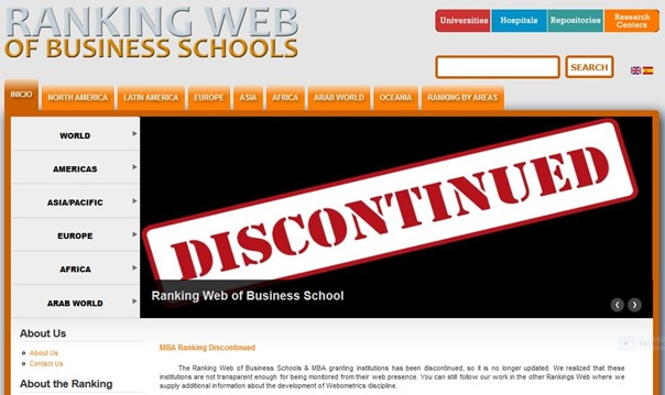 MBA Ranking Discontinued